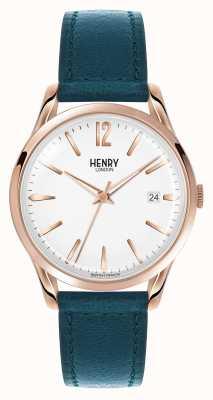 Henry London Stratford bracelet en cuir bleu cadran blanc HL39-S-0132