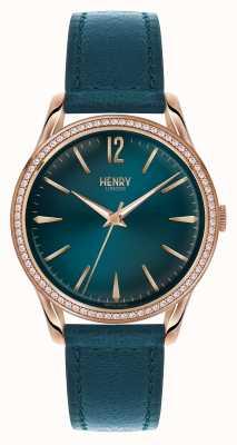 Henry London Cadran bleu Stratford bleu bracelet en cuir HL39-SS-0140