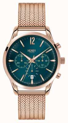 Henry London Stratford plaqué or rose en maille chronographe HL39-CM-0142
