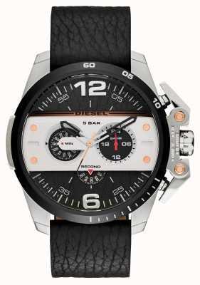 Diesel Mens ironside bracelet en cuir noir chronographe DZ4361