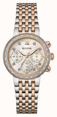 Bulova Womens deux tons diamant serti chronographe 98W215