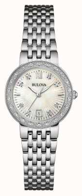 Bulova Womens diamant en acier inoxydable fixé cadran blanc 96W203