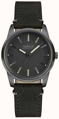Barbour Mens jarrow bracelet en cuir noir cadran noir BB026GNBK