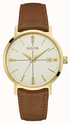 Bulova Mens Aerojet cuir brun cadran crème de sangle 97B151