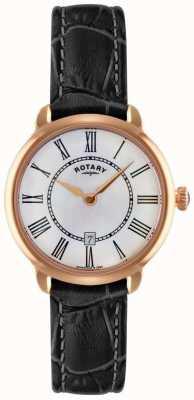 Rotary Mesdames elise cuir noir de la montre bracelet LS02919/41