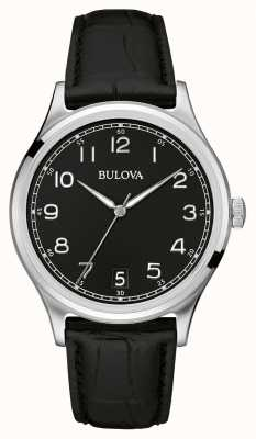 Bulova Gents classique bracelet en cuir noir 96B233
