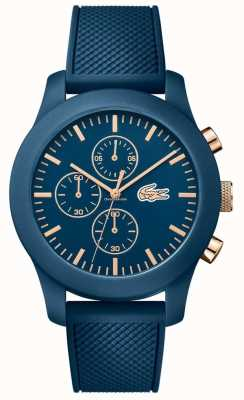 Lacoste Mens 12,12 chrono bleu bracelet en silicone cadran bleu 2010827