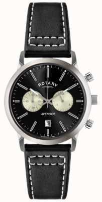 Rotary Mens avenger bracelet en cuir noir chrono GS02730/04