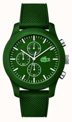 Lacoste Mens 12,12 chrono bracelet en caoutchouc vert cadran vert 2010822