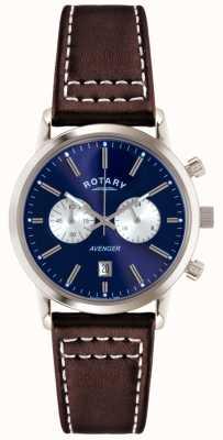 Rotary Mens avenger bracelet en cuir brun chrono GS02730/05