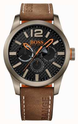 Hugo Boss Orange Mens paris bracelet en cuir brun cadran noir 1513240