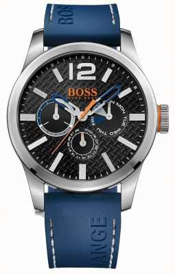 Hugo Boss Orange Mens paris bracelet en caoutchouc bleu cadran noir 1513250