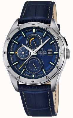 Festina Mens cuir bleu cadran bracelet multifonction F16877/2