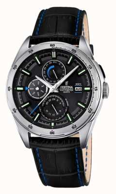 Festina Mens cuir noir cadran bracelet multifonction F16877/4