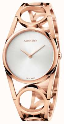 Calvin Klein Ronde des femmes a augmenté plaqué or PVD cadran argenté K5U2S646