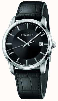 Calvin Klein Mens infinie bracelet en cuir noir cadran noir K5S311C1