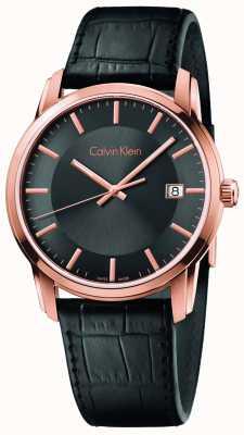 Calvin Klein Mens infinie bracelet en cuir noir cadran noir K5S316C3