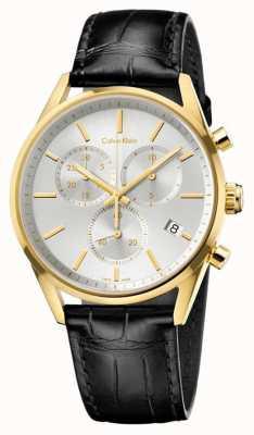 Calvin Klein Formalité Mens bracelet en cuir noir chrono K4M275C6