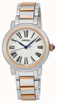 Seiko Womens deux tons bracelet cadran blanc SRZ448P1