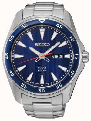 Seiko Mens cadran bleu en acier inoxydable solaire SNE391P1