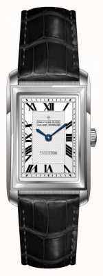 Dreyfuss Bracelet en cuir noir pour femmes cadran blanc DLS00140/06