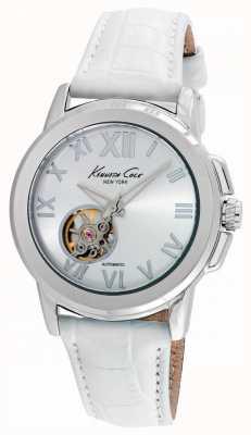 Kenneth Cole Womens automatique bracelet en cuir blanc KC10020859