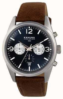 Kahuna Mens bracelet brun cadran bleu chrono KCS-0011G