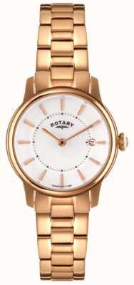 Rotary locarno Womens rose pvd or cadran blanc LB02774/02