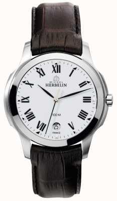 Michel Herbelin Ambassadeur Mens bracelet brun en cuir 12239/01MA