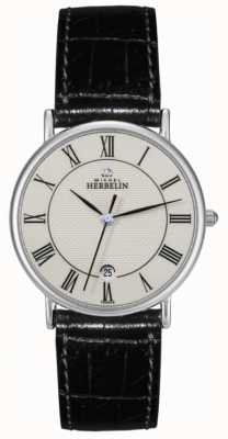 Michel Herbelin Hommes de bracelet en cuir noir 12443/S08