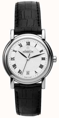 Michel Herbelin Womens bracelet en cuir noir cadran blanc 12432/08