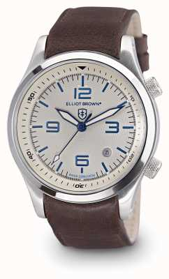 Elliot Brown Mens CANFORD cuir brun cadran blanc 202-001-L09