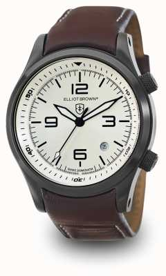 Elliot Brown Mens Canford oxblood cadran cuir argent 202-009-L05