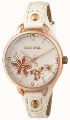Kahuna Womens bracelet en cuir blanc cadran blanc KLS-0312L