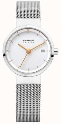 Bering Womens solaire maille d'acier inoxydable cadran blanc 14426-001