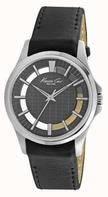 Kenneth Cole Mens bracelet en cuir noir cadran noir KC10022286