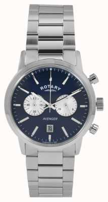 Rotary Mens vengeur cadran bleu en acier inoxydable GB02730/05
