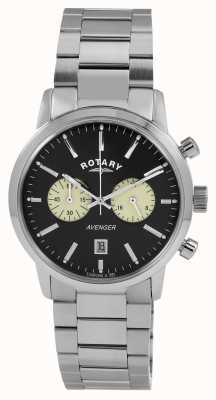 Rotary Mens vengeur en acier inoxydable cadran noir GB02730/04