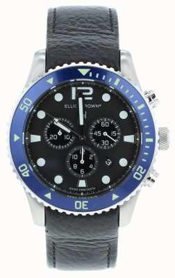Elliot Brown Cadran bleu en cuir noir personnalisé bloxworth pour hommes 929-003