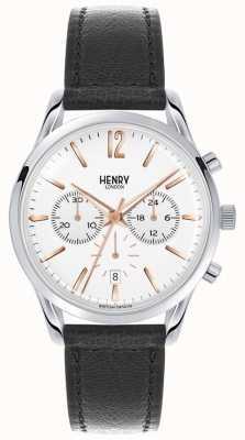 Henry London Highgate unisexe cuir noir cadran blanc HL39-CS-0009