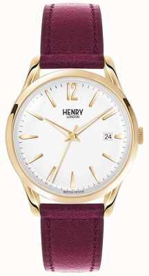 Henry London Cuir bordeaux holborn unisexe cadran blanc HL39-S-0064