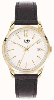Henry London Westminster unisexe cuir noir cadran blanc HL39-S-0010