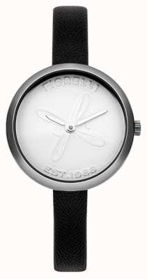 Fiorelli Womens bracelet en cuir noir cadran blanc FO007BS