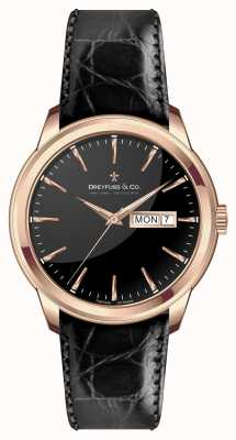 Dreyfuss Mens bracelet en cuir noir cadran noir DGS00129/04