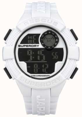 Superdry Mens radar bracelet en caoutchouc blanc numérique SYG193W