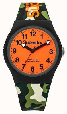 Superdry caoutchouc camo cadran bracelet orange urbain unisexe SYG164NO