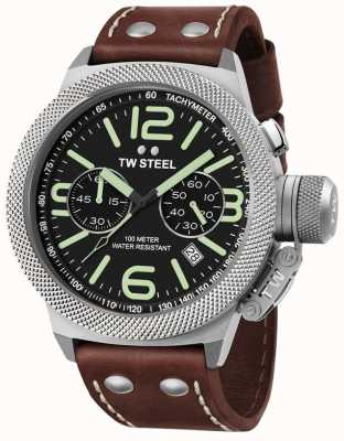TW Steel Mens cantine 50mm bracelet chrono cuir marron CS24