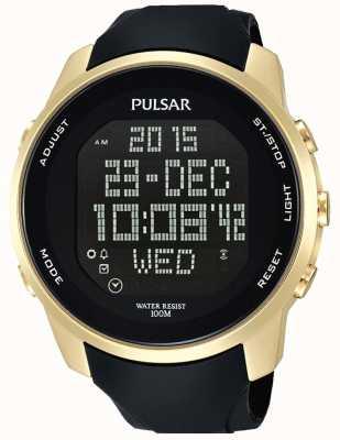 Pulsar cas Hommes plaqué or numérique caoutchouc noir PQ2048X1