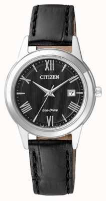 Citizen Womens eco-drive bracelet en cuir noir cadran FE1081-08E