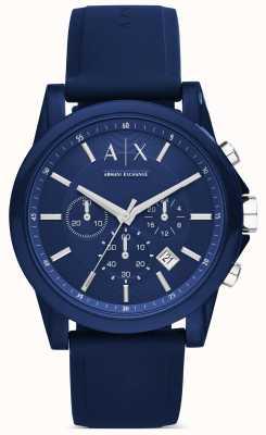 Armani Exchange Chronographe silicone bleu AX1327
